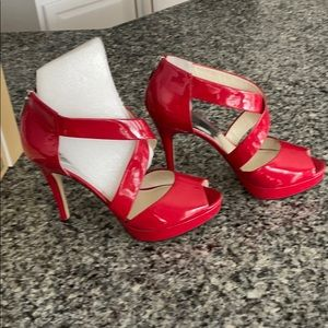 Michael Kors Ariel hot chili red platform heels